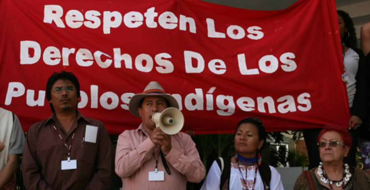 Respect the rights of indigenous communities. Campaigners at the Cancun Summit