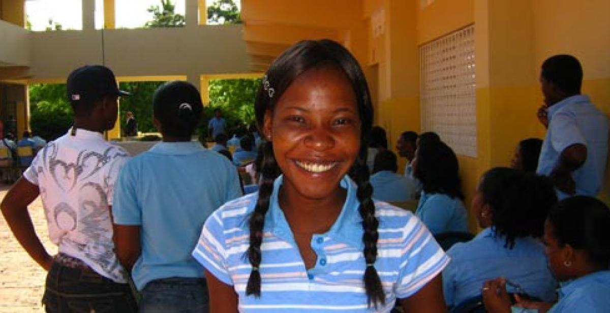 Photo: Rosa back at school – a step towards her dream of becoming a lawyer.