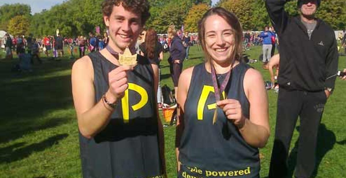 Jeremy Robson and Vicky Schutzer-Weissmann after completing the Royal Parks 2013