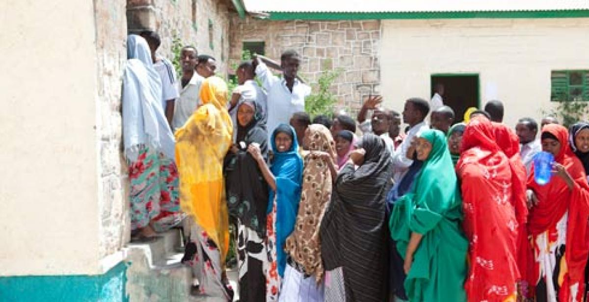 voters queue to cast their ballots in Somaliland