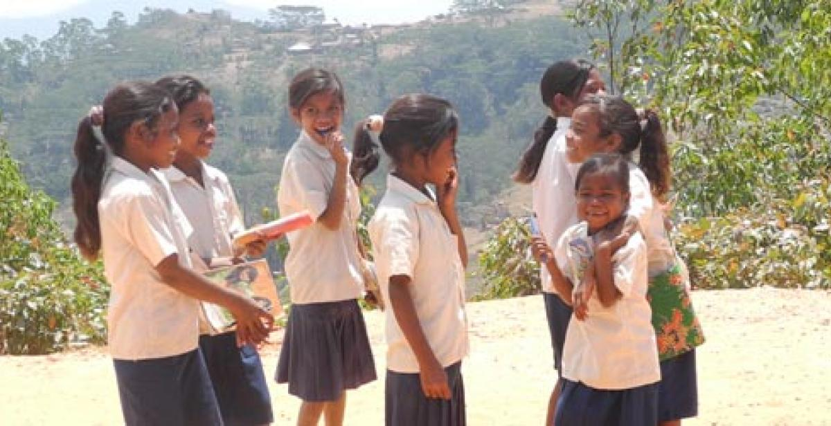 School girls in a rural area of Timor-Leste