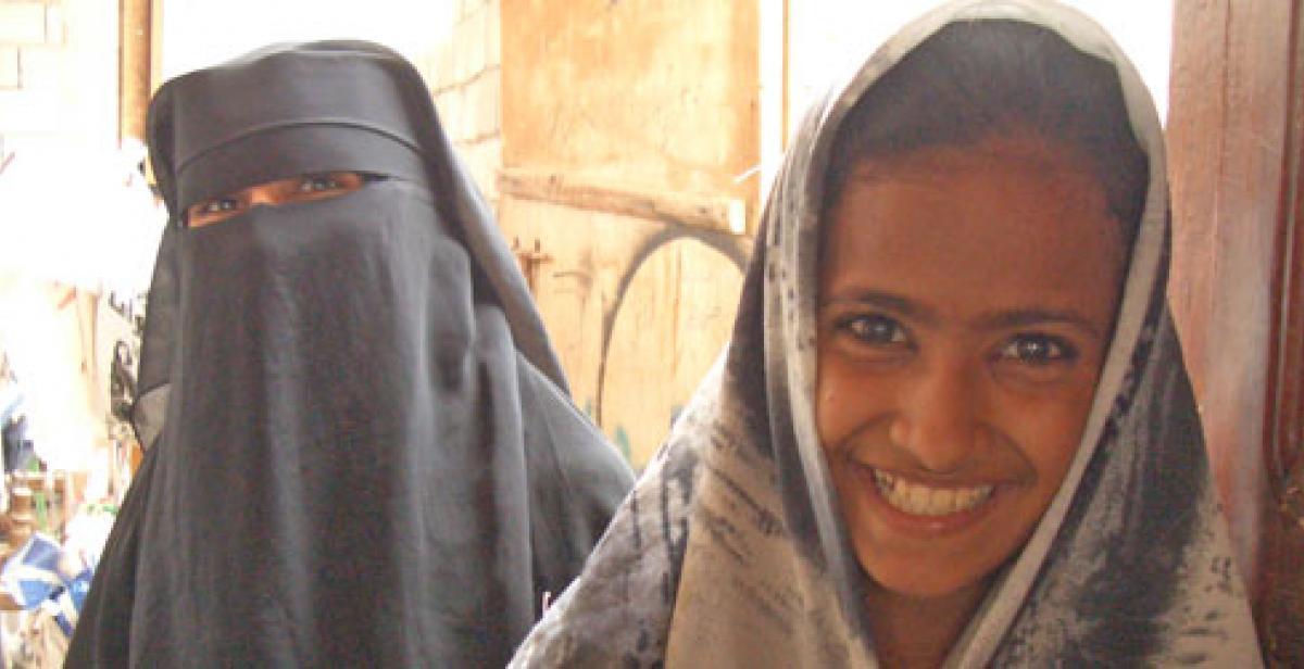 Two young women in Yemen