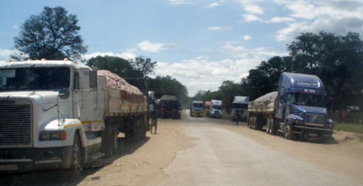 Trucks at the Chirundu border post Zimbabwe