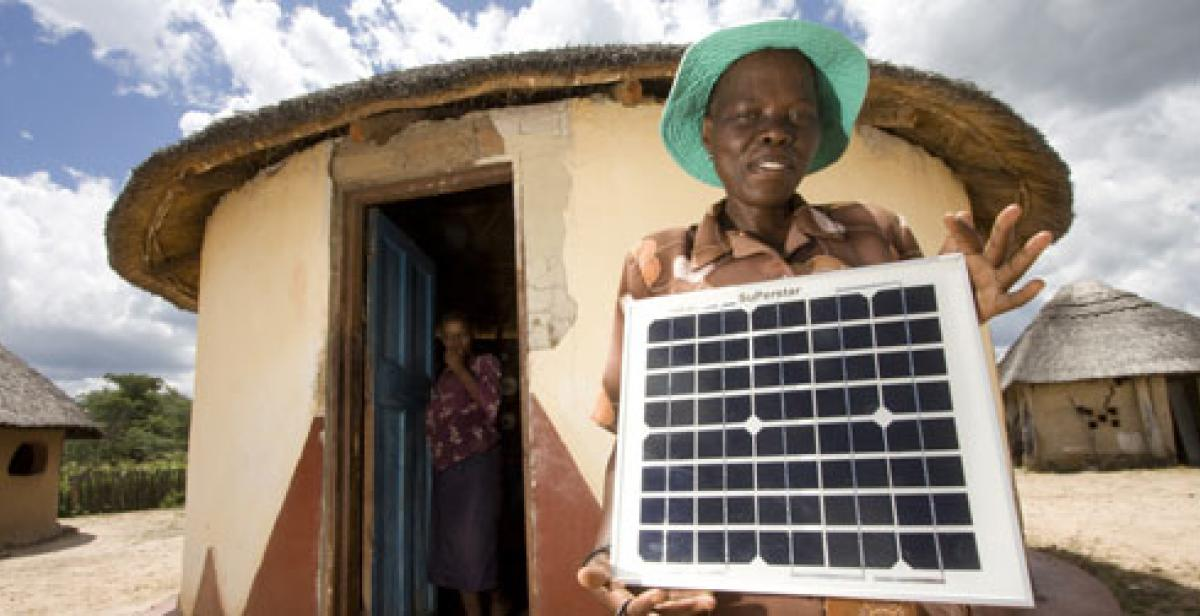 Rhoda Khumalo with solar panel