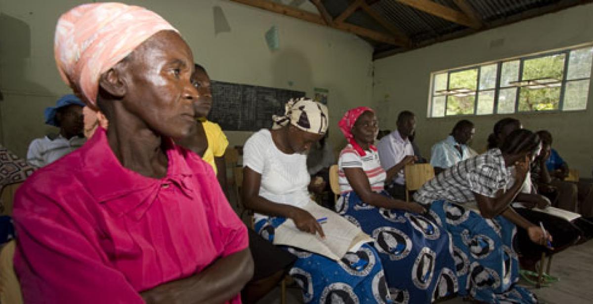 Women at a meeting at Kariyangwe in Zimbabwe