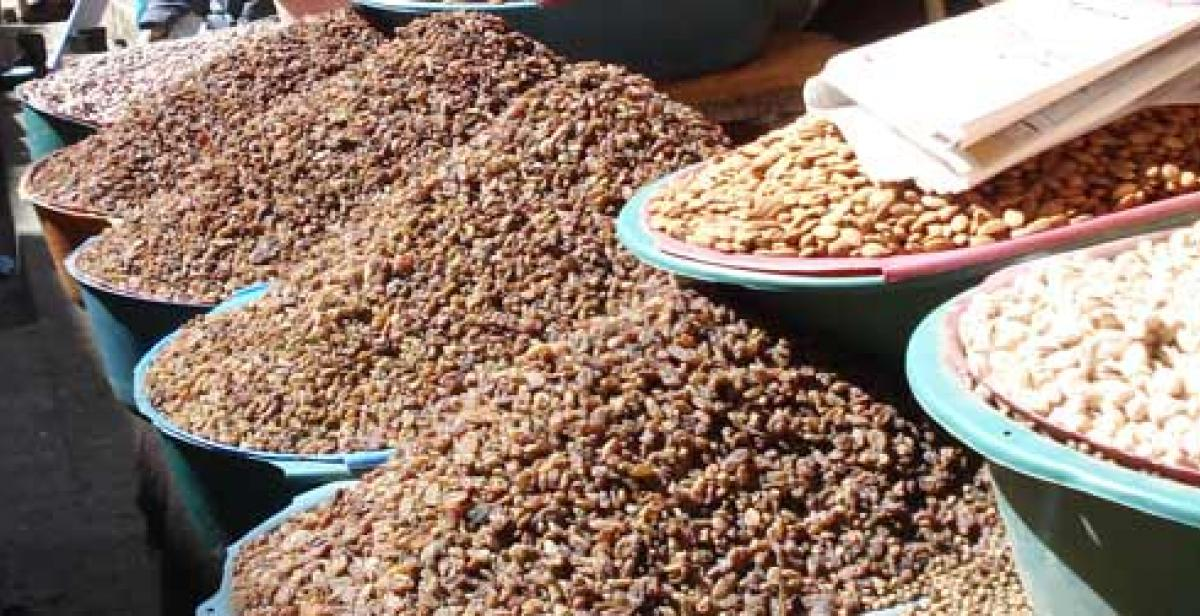 Beans and seeds being sold at a local market in Yemen.