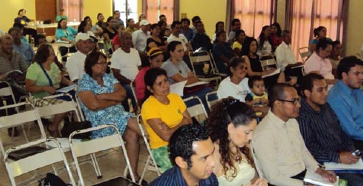 Climate justice campaigners in El Salvador at a debrief meeting