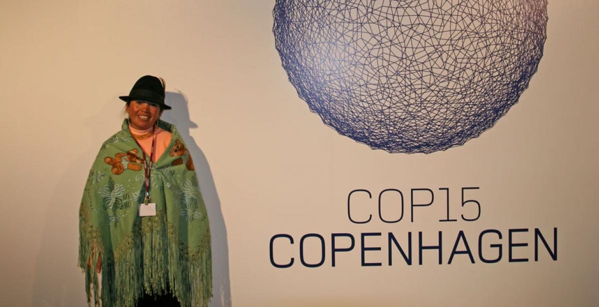 Fabiola Quishpe at the Copenhagen climate summit