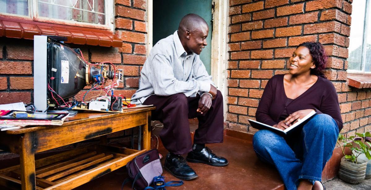 Teclah Ponde (right) with Clayton Marambo in Zimbabwe
