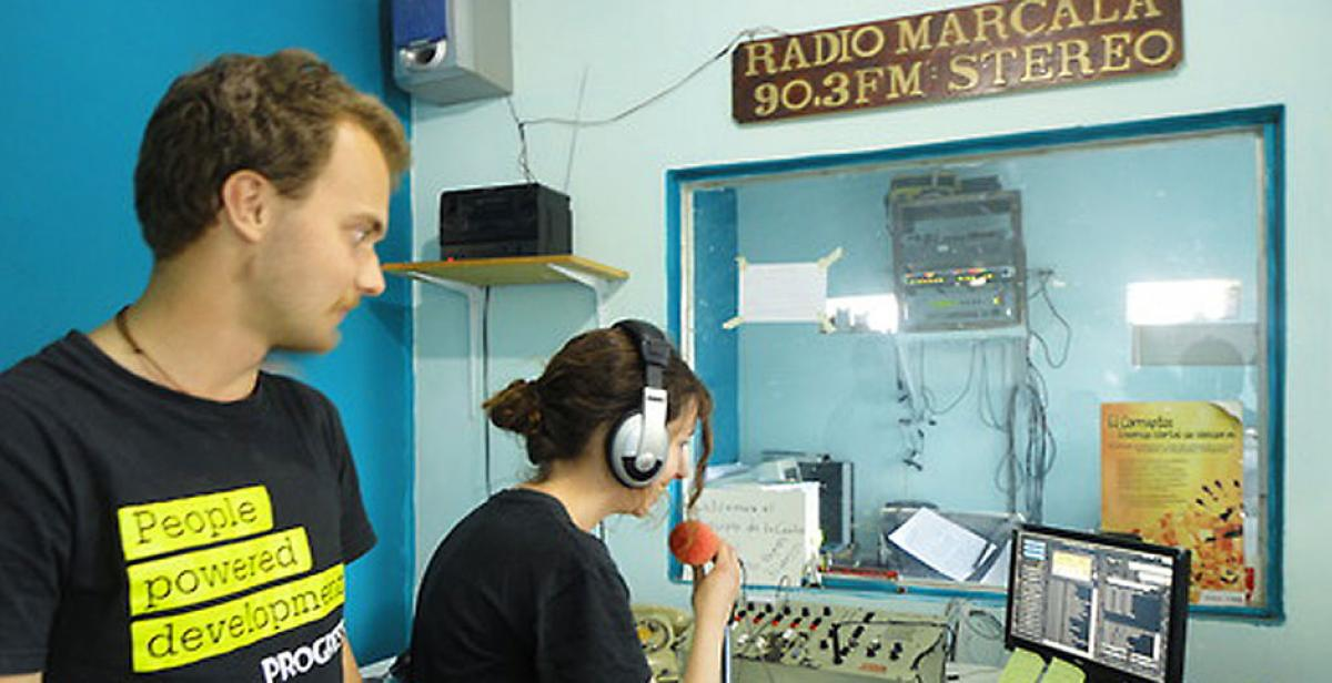 Volunteers involved in an interview with Radio Marcala