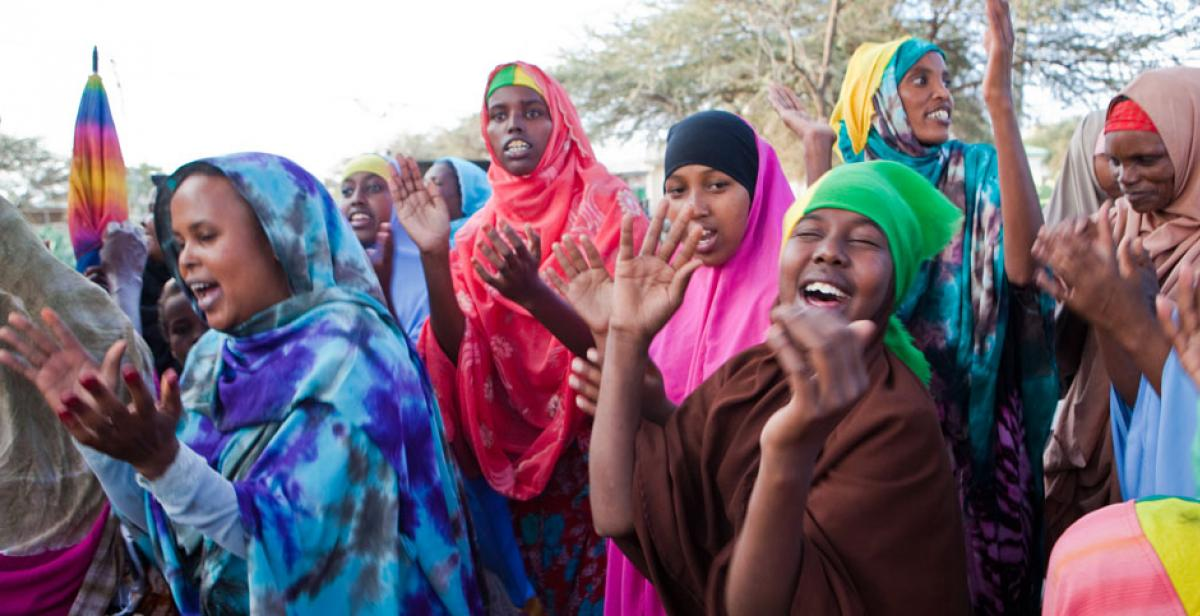 Women dancing and clapping during campaigning for elections in Somaliland