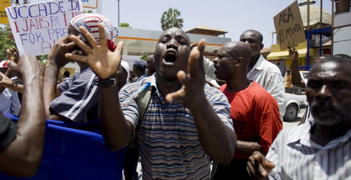 People demonstrating in Haiti