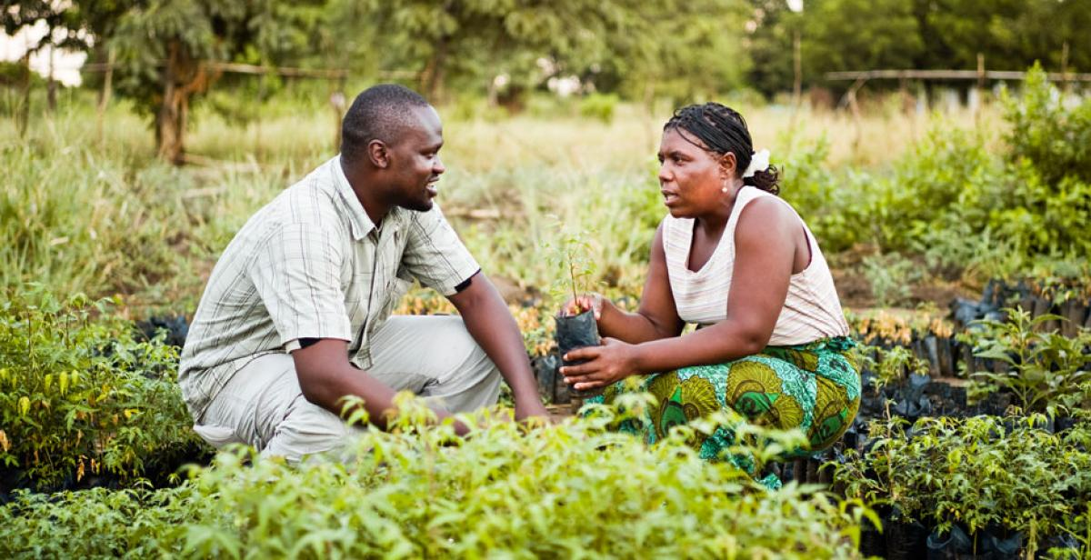 Development worker Innocent Ogaba talks to farmer Mary Gomani