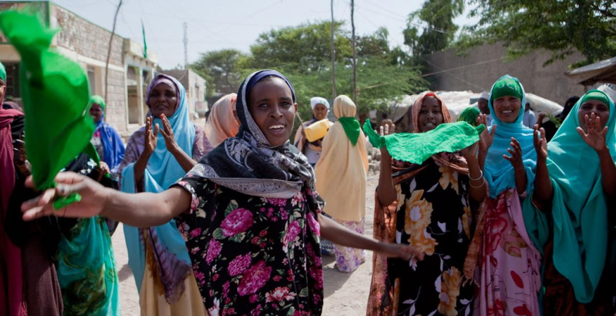 A woman campaigning during elections in Somaliland