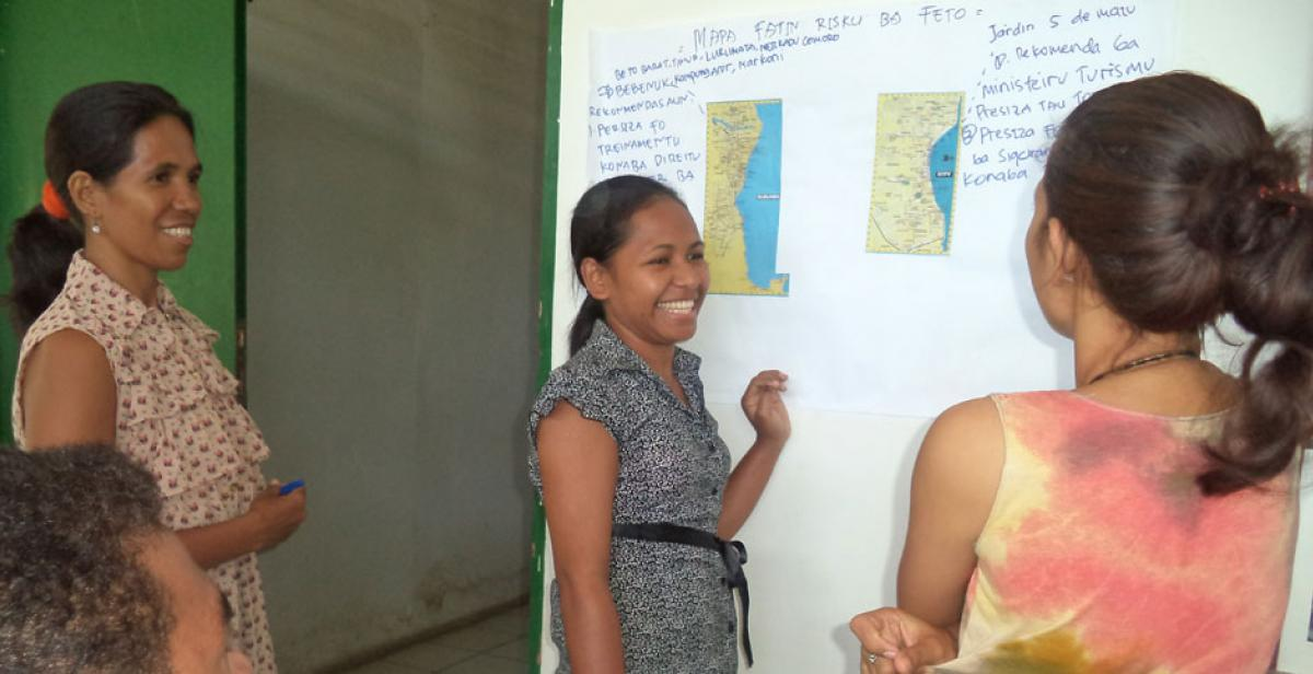 Women participants in a workshop for the 2014 Safe Dili campaign