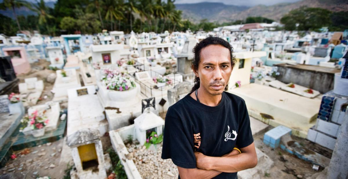 Julinho Ximenhes at Santa Cruz cemetery in Dili