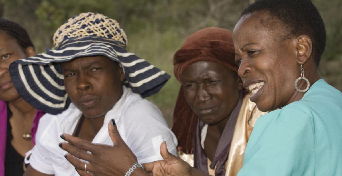 Sibonakele Ngwenya and Isabel Saungweme discuss women's rights in Zimbabwe