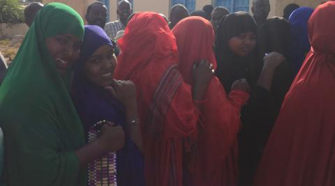 Young women queue to register their vote in Hargeisa