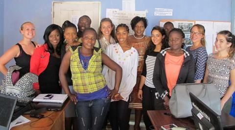 Team Kusintha with Mrs Gondwe after her inspiring talk