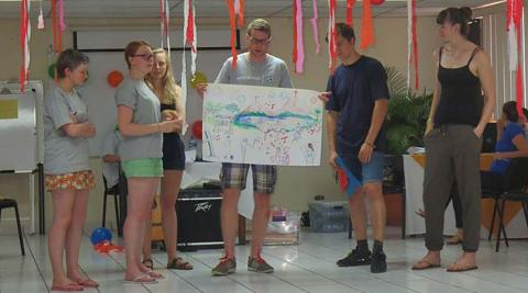 Kaye, Caitlyn, Jess, Matt, Gavin and Anna presenting our perceived stereotypes of Nicaragua
