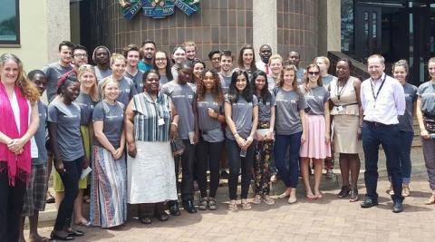 The Progressio ICS Malawi teams outside the DFID office with the Head and Deputy Head of DFID