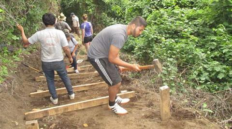 ICS volunteers working on the steps to the viewpoint
