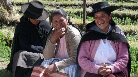 Victoria Cruz (on right) a women's leader in Huancavelica Peru