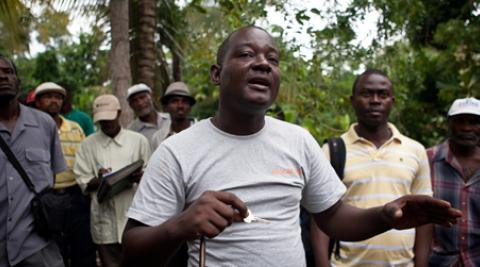 Gabriel Petit-Homme addresses villagers