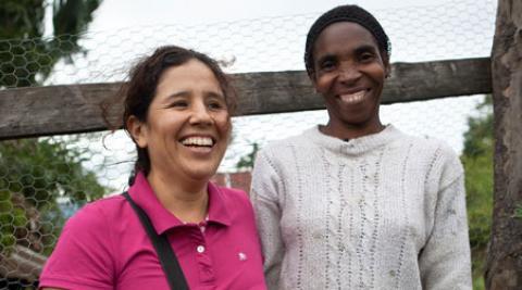 Karina Cuba with farmer Elena Tusen
