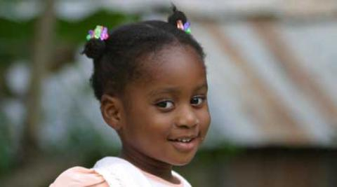 A girl in Ouanaminthe, a Haitian northern border town
