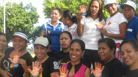 Women campaigning against domestic violence on International Women's Day in Dili
