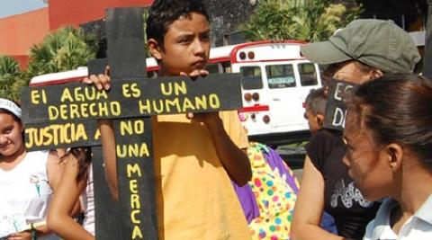 Young people on a climate justice demonstration in El Salvador