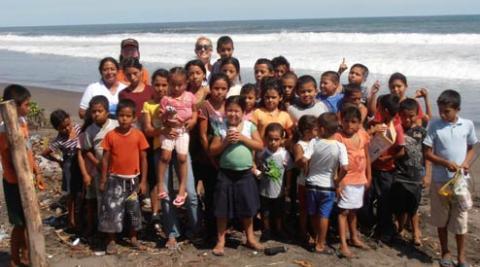 Kids on the beach at El Tamarindo, El Salvador