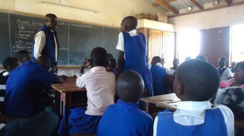 A classroom in a school in Malawi