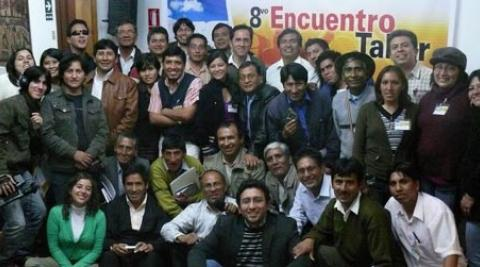 Participants at a radio network meeting in Peru