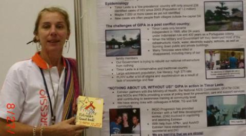 Fi Oakes is pictured at an awareness-raising stand