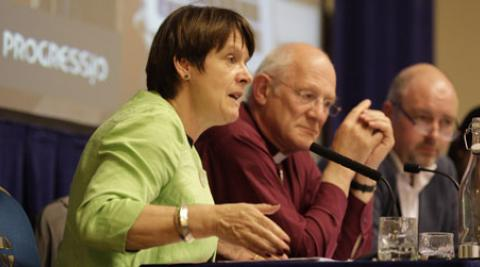 Caroline Spelman MP addresses Christians at a meeting to discuss Rio+20