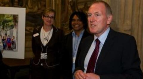 MP Paul Goggins (right) speaking at East Timor: Who Cares? exhibition
