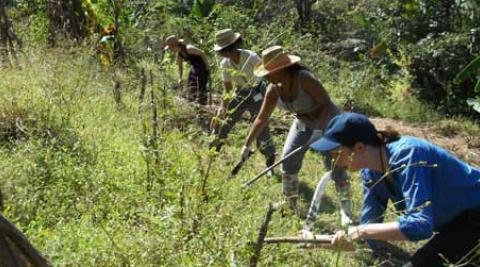 ICS volunteers working hard to help Lorena and her family prepare land for crops