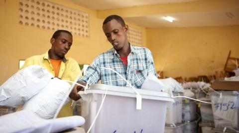 Checking ballot boxes after Somaliland local elections