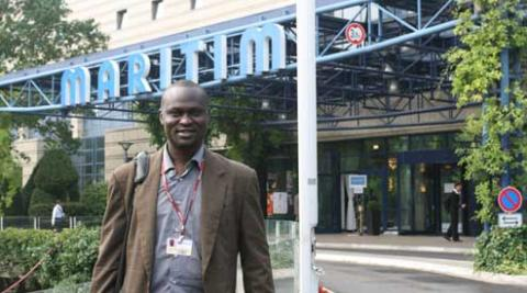 Innocent Ogaba outside the conference centre in Bonn