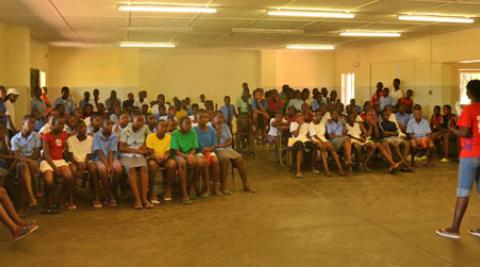 Katrine presenting to Binga High