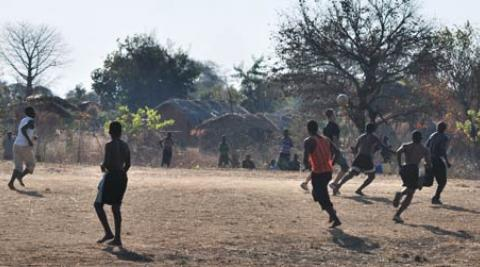 A football match at a village in Malawi