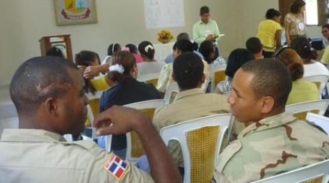 Military personel take part in a course on New Masculinities