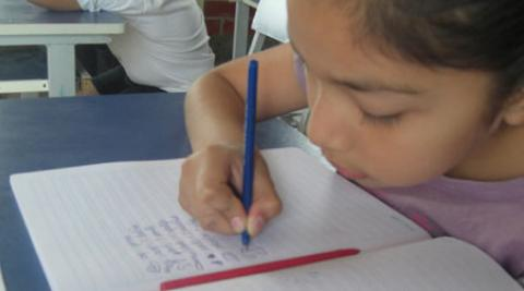 A girl in an English lesson in Peru