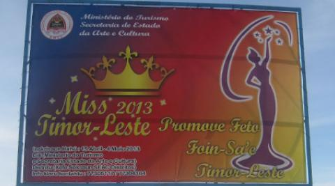 A billbord advertising Miss Timor-Leste pageant
