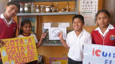 Children in province of Huarochirí, Peru, showing collection of batteries
