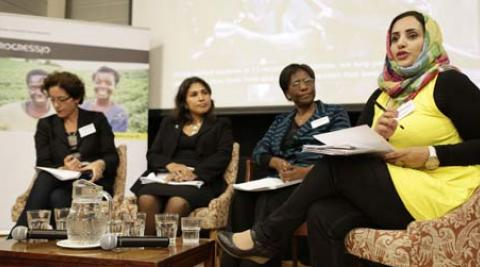 Panelists speaking at Fragile States, Phenomenal Women event