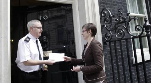 Christine Allen (right) delivers petition to No.10 Downing Street (©Progressio)