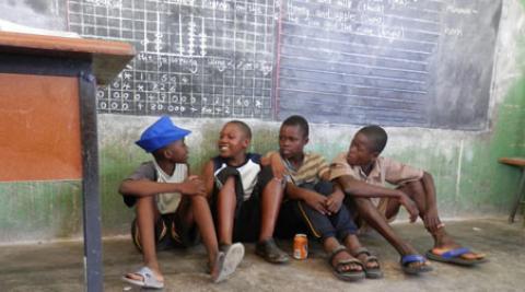 Boys doing a drama scene